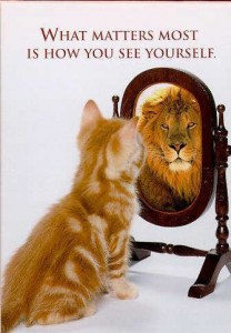 Funny-cat-picture-cute-kitty-pic-kitten-looking-in-mirror-seeing-a-lion-208x300